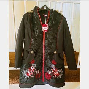 NWT Joe Brown Embroidered Coat with Fur hood
